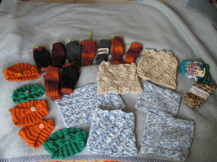 A pile of charity knits