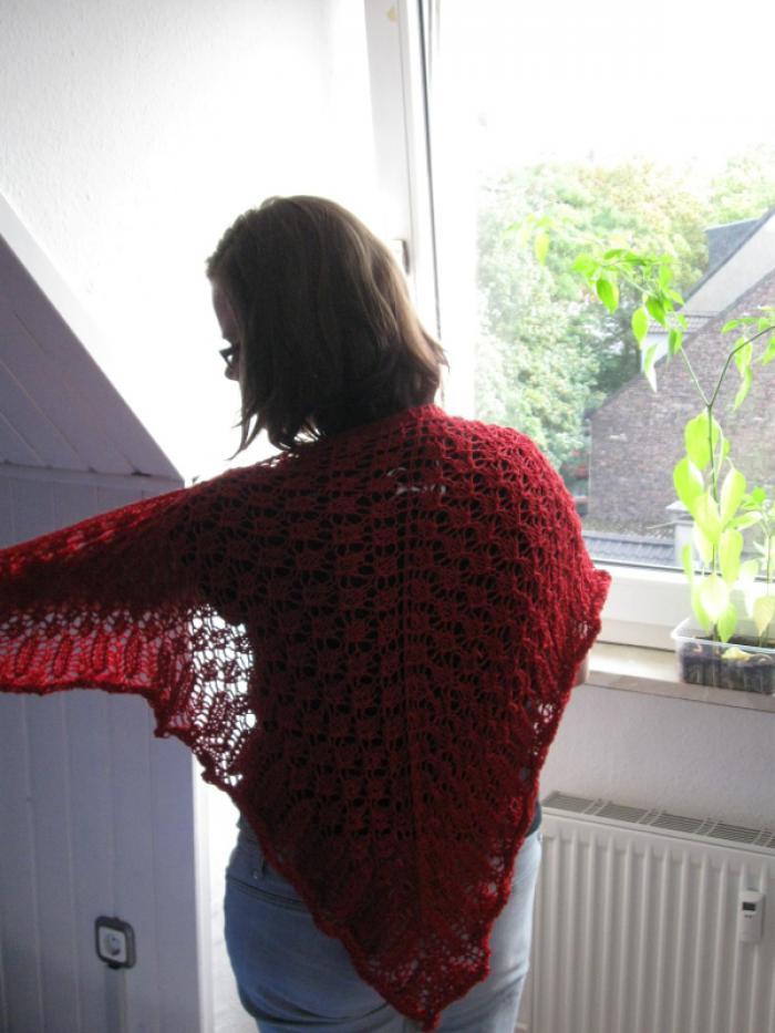 Worsted Knitt - corny red shawl